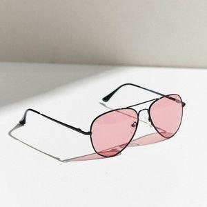 UO Good Vibes Aviator Sunglasses Pink